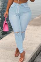 Baby Blue Fashion Street Solid Ripped High Waist Denim Jeans