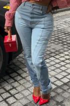 Blue Fashion Casual Patchwork Basic Mid Waist Regular Denim Jeans