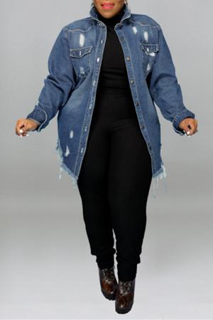 Dark Blue Fashion Casual Solid Ripped Turndown Collar Plus Size Overcoat