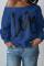 Blue Fashion Casual Letter Print Basic Oblique Collar Tops
