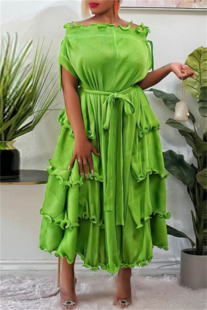 Green Fashion Casual Solid Split Joint Off the Shoulder Short Sleeve Dress