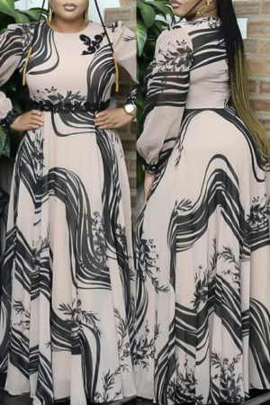 Apricot Fashion Casual Print Basic O Neck Long Sleeve Plus Size Dresses