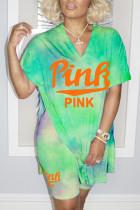 Green Fashion Street Print Slit O Neck Short Sleeve Two Pieces