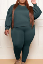 Ink Green Fashion Casual Solid Basic O Neck Plus Size Two Pieces