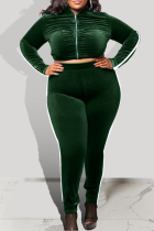 Green Casual Solid Split Joint Zipper Collar Plus Size Two Pieces