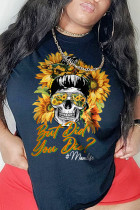 Black Casual Party Print Split Joint O Neck T-Shirts