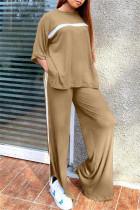 Khaki Fashion Casual Striped Slit O Neck Three Quarter Two Pieces