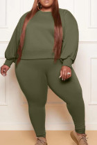Army Green Fashion Casual Solid Basic O Neck Plus Size Two Pieces