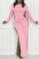 Pink Sexy Casual Solid Hollowed Out Slit O Neck Long Sleeve Dresses