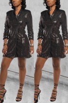 Coffee Notched Slim fit Patchwork Sequin Geometric Button Patchwork Long Sleeve Coats & Cardigan