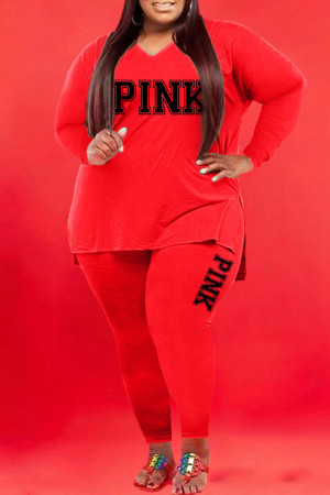 Red Casual Print Split Joint V Neck Plus Size Two Pieces