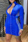 Blue Fashion Casual Print Split Joint Zipper Collar Long Sleeve Dresses