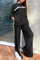 Black Fashion Casual Striped Slit O Neck Three Quarter Two Pieces