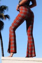 Red Temperament Grids Printed Flared Blending Pants