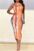Orange Fashion Sexy Print Backless Spaghetti Strap Sleeveless Dress