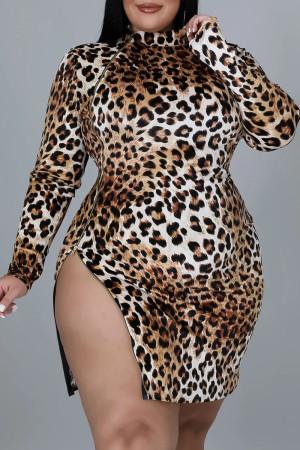 Coffee Sexy Print Leopard Split Joint Zipper Zipper Collar One Step Skirt Plus Size Dresses