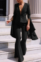 Black Fashion Irregular Large Sleeve Flare Pants Two Piece Suit
