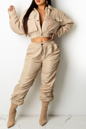 Light Brown Casual Solid Split Joint Pocket Buckle Fold Turndown Collar Long Sleeve Two Pieces