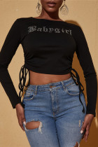 Black Fashion Casual Letter Hot Drilling Bandage O Neck Tops