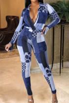 Blue Casual Print Split Joint V Neck Regular Jumpsuits