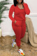 Red Fashion Casual Solid Basic O Neck Regular Jumpsuits