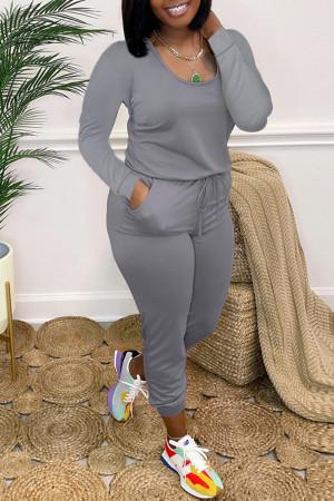 Grey Fashion Casual Solid Basic O Neck Regular Jumpsuits