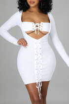 White Sexy Solid Hollowed Out Split Joint Frenulum V Neck Pencil Skirt Dresses