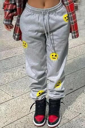 Grey Fashion Casual Print Basic Regular Mid Waist Trousers