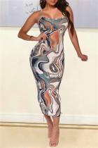 Grey Fashion Sexy Print Backless Spaghetti Strap Sleeveless Dress