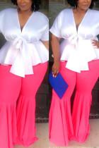 Pink Casual Fashion Slim Lotus Leaf Pants