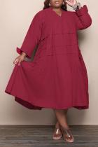 Burgundy Casual Solid Flounce V Neck Cake Skirt Plus Size Dresses