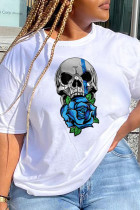 White Casual Party Print Split Joint O Neck T-Shirts