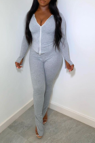 Grey Casual Solid Split Joint Zipper Collar Long Sleeve Two Pieces