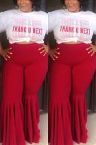 Red Casual Fashion Slim Lotus Leaf Pants