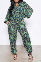 Green Casual Patchwork Tie-dye Turndown Collar Long Sleeve Two Pieces