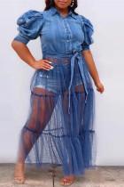 Blue Fashion Casual Plus Size Patchwork Mesh Turndown Collar Short Sleeve Dress
