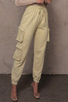 Khaki Fashion Casual Solid Regular High Waist Trousers
