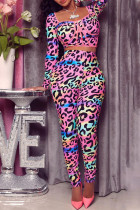 Pink Sexy Print Leopard Split Joint Square Collar Long Sleeve Two Pieces