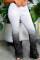 Grey Fashion Casual Gradual Change Print Fold Regular High Waist Trousers