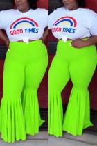 Green Casual Fashion Slim Lotus Leaf Pants