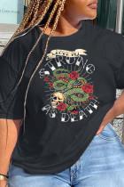 Black Fashion Party Print Split Joint O Neck T-Shirts