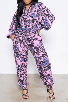Purple Casual Patchwork Tie-dye Turndown Collar Long Sleeve Two Pieces