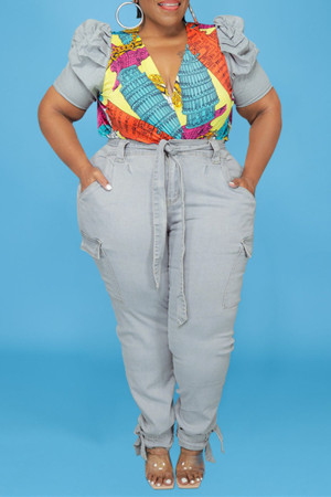 Baby Blue Fashion Casual Print Split Joint V Neck Plus Size Two Pieces