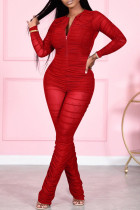Red Fashion Sexy Solid Split Joint Fold Zipper Collar Regular Jumpsuits