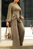 Army Green Fashion Casual Solid Split Joint O Neck Jumpsuits