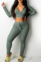 Green Casual Solid Split Joint Fold Hooded Collar Long Sleeve Two Pieces