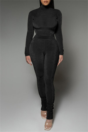 Black Fashion Casual Solid Fold Turtleneck Long Sleeve Two Pieces