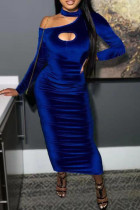 Blue Fashion Sexy Solid Split Joint O Neck One Step Skirt Dresses