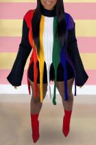 Colour Fashion Street Striped Tassel Split Joint O Neck Tops