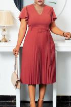 Orange Pink Elegant Solid Split Joint V Neck Pleated Plus Size Dresses